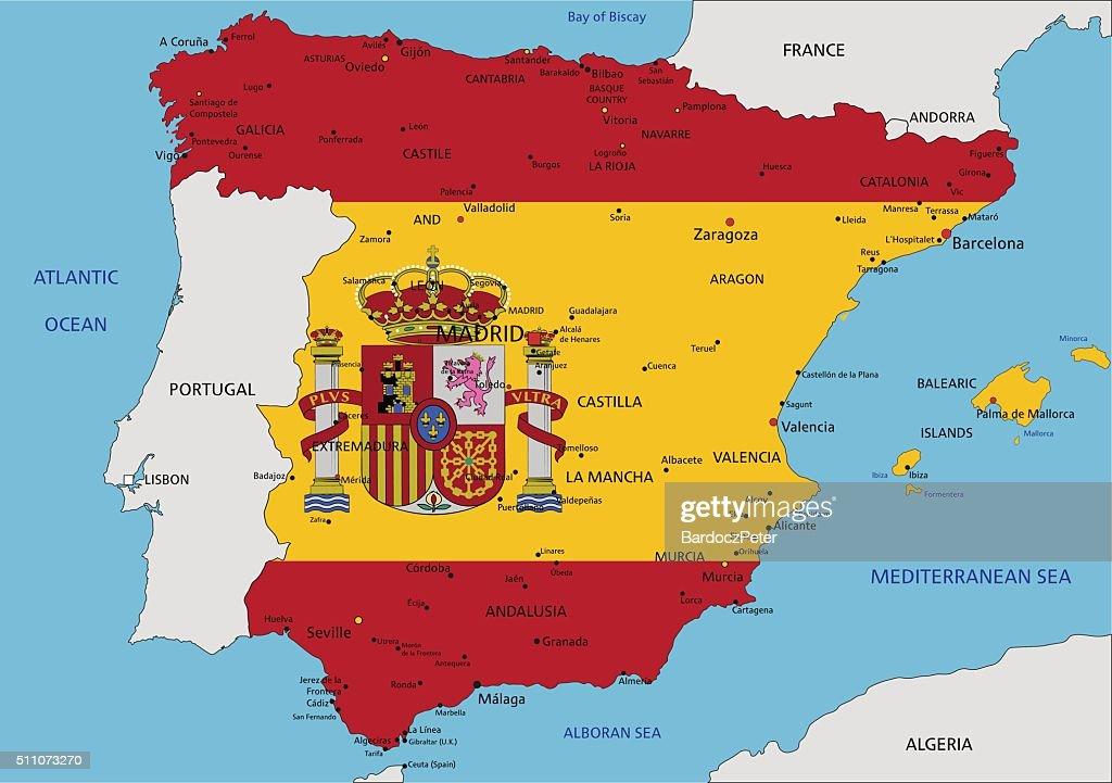 Cartina Spagna Politica Da Stampare.Spagna Altamente Dettagliata Carta Politica Con Bandiera Nazionale Illustrazione Stock Getty Images