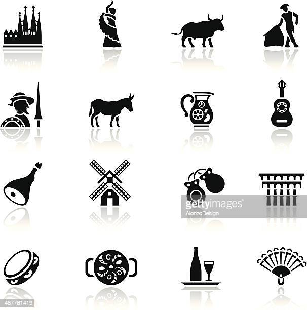 spain icon set - barcelona stock illustrations, clip art, cartoons, & icons
