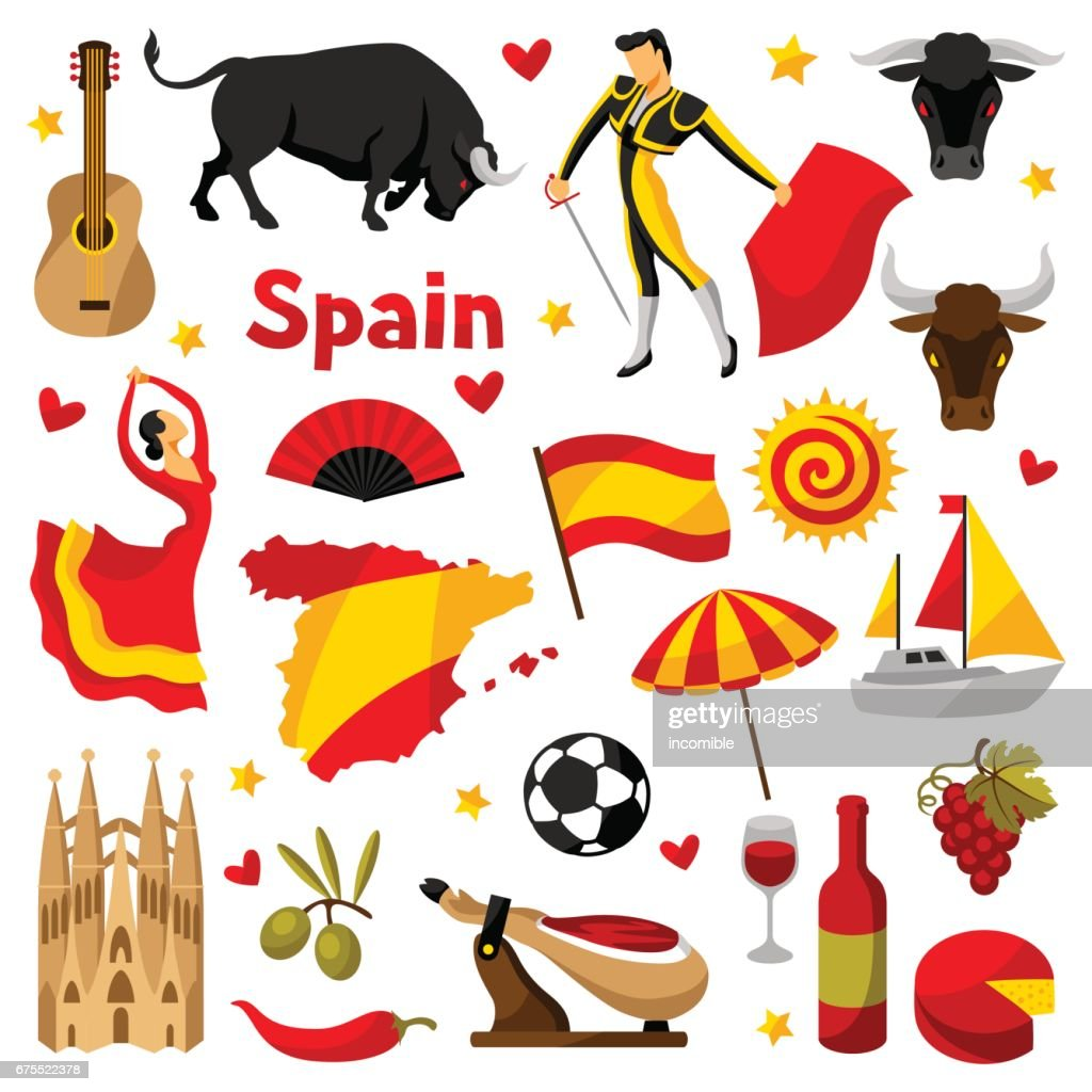 Spain icons set. Spanish traditional symbols and objects