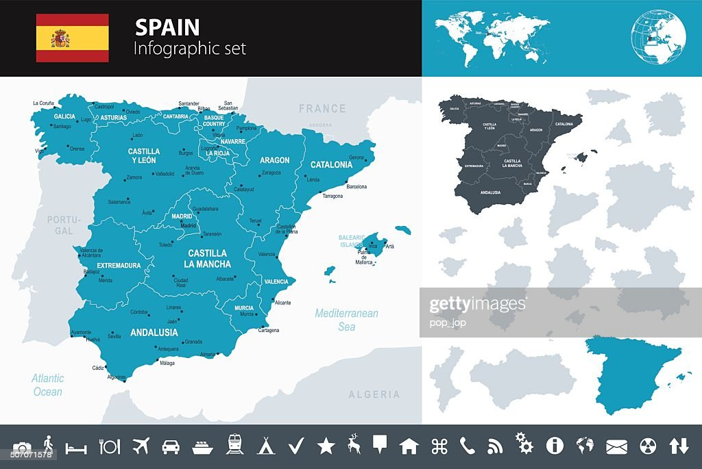 Spain - Infographic map - illustration