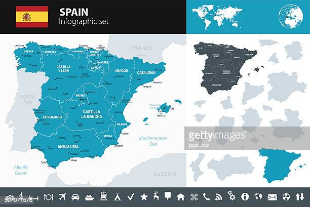 spain - infographic map - illustration - seville stock illustrations, clip art, cartoons, & icons