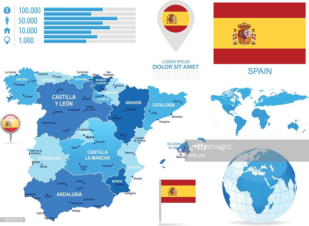 Spain - infographic map - Illustration : stock illustration