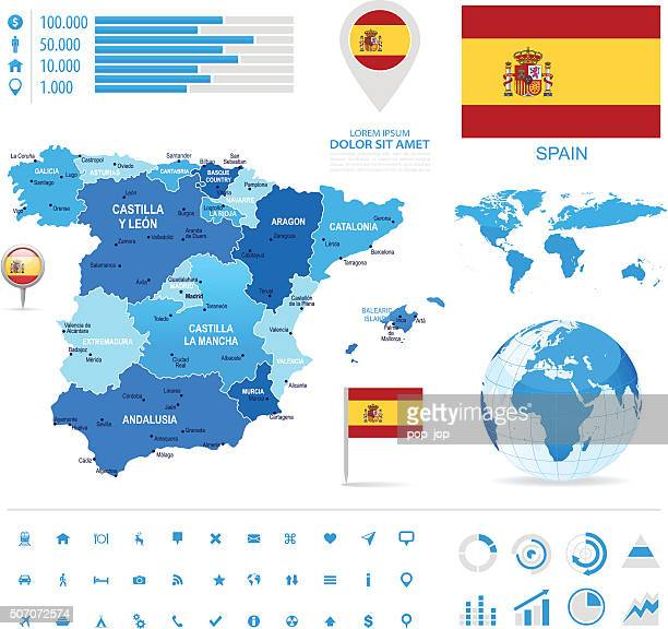 spain - infographic map - illustration - oviedo stock illustrations, clip art, cartoons, & icons