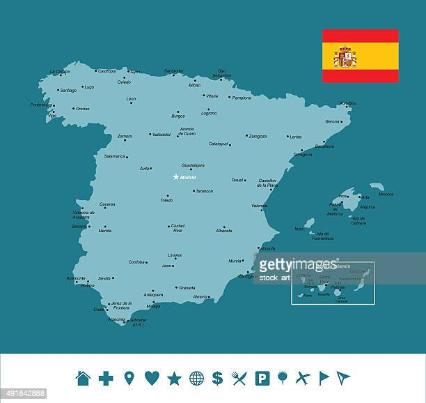 spain infographic map - oviedo stock illustrations, clip art, cartoons, & icons