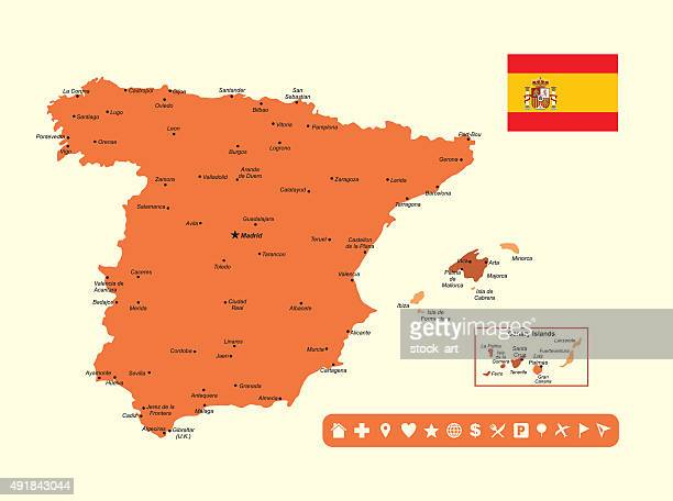 spain infographic map - seville stock illustrations, clip art, cartoons, & icons