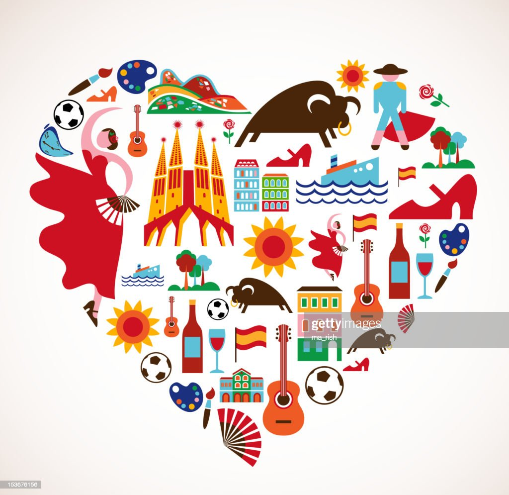 Spain Love - heart with set of vector icons