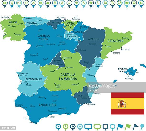 spain map and navigation icons - oviedo stock illustrations, clip art, cartoons, & icons