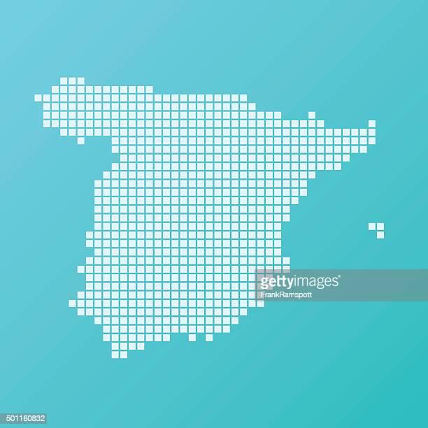 スペインマップベーシックスクエア模様のターコイズ - スペイン点のイラスト素材/クリップアート素材/マンガ素材/アイコン素材