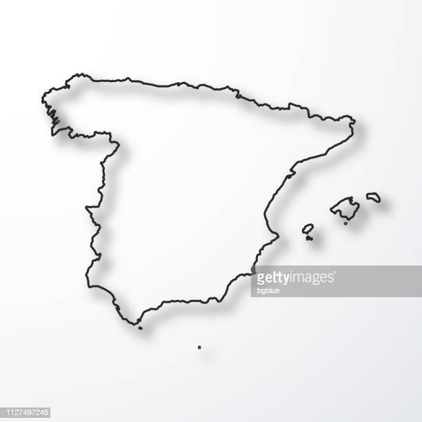 スペイン地図 - 白い背景のシャドウとアウトラインを黒 - スペイン点のイラスト素材/クリップアート素材/マンガ素材/アイコン素材