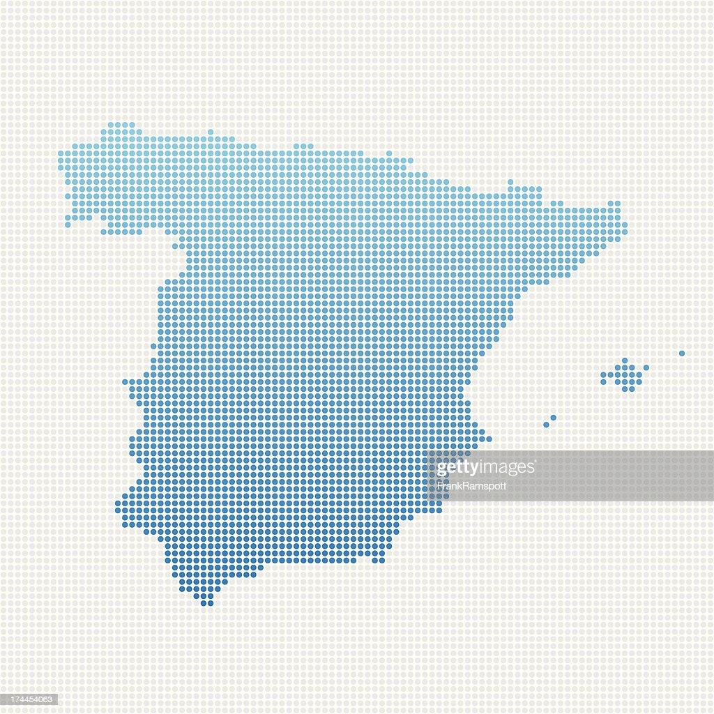 Spain Map Blue Dot Pattern : stock illustration