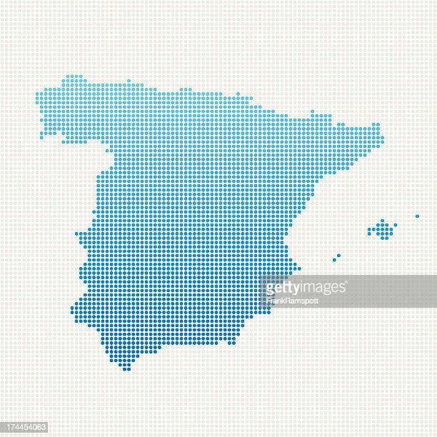 spain map blue dot pattern - iberian peninsula stock illustrations, clip art, cartoons, & icons