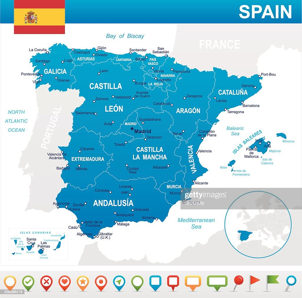 Spain - map, flag and navigation icons - illustration
