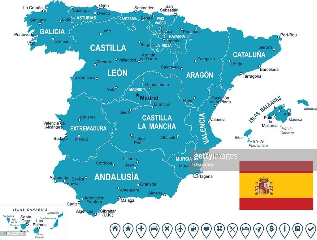 Spain - map, flag and navigation labels - illustration