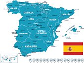 Spain - map, flag and navigation labels - illustration
