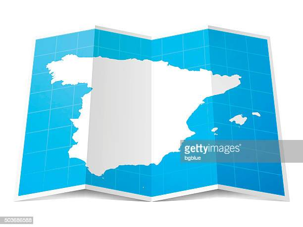 spain map folded, isolated on white background - iberian peninsula stock illustrations, clip art, cartoons, & icons