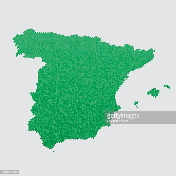 Spanien, Karte Grün Sechseck Muster