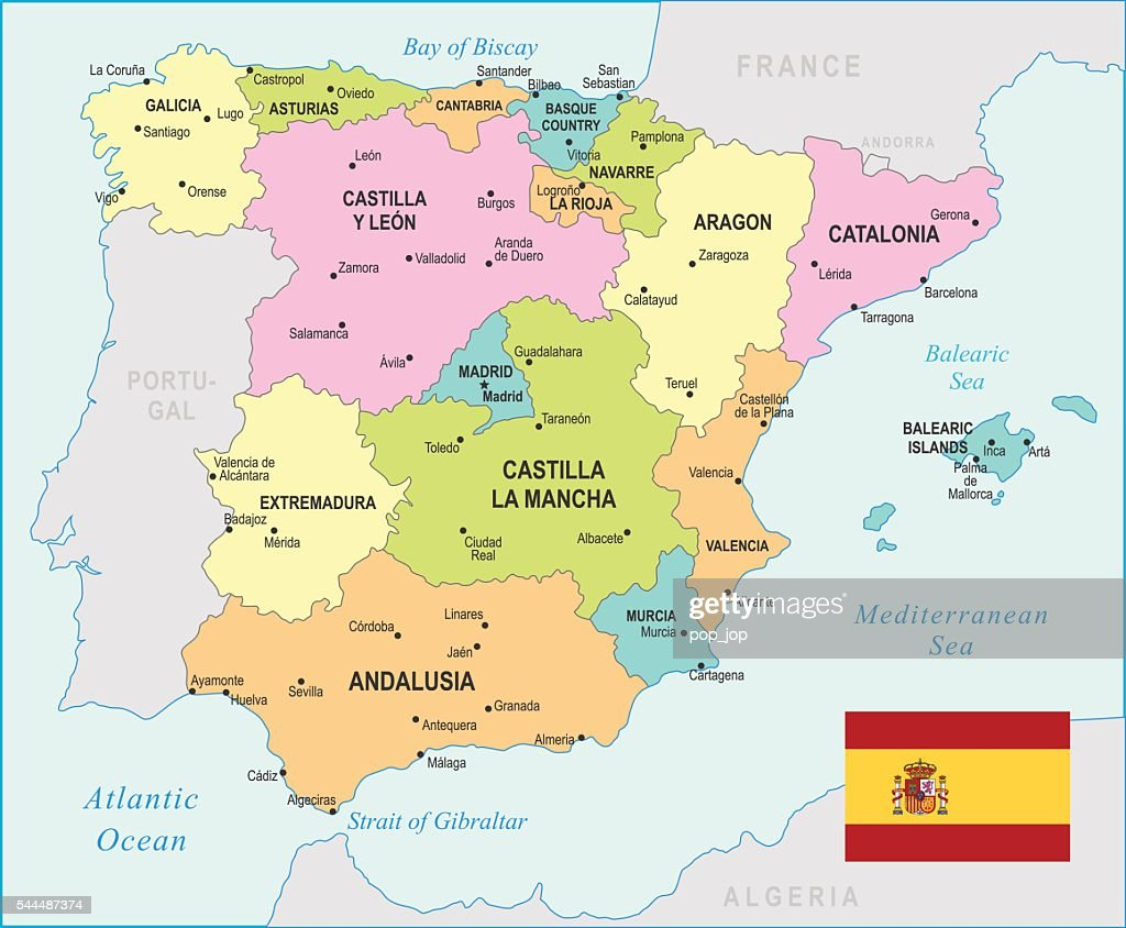 Spain Map Illustration Vector Art Getty Images