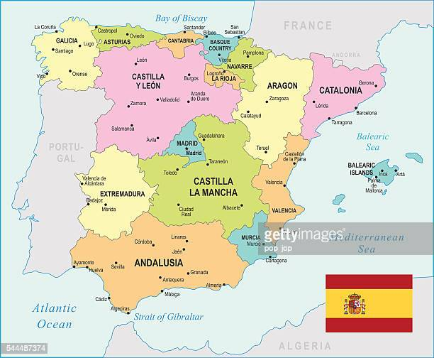 spain map - illustration - oviedo stock illustrations, clip art, cartoons, & icons