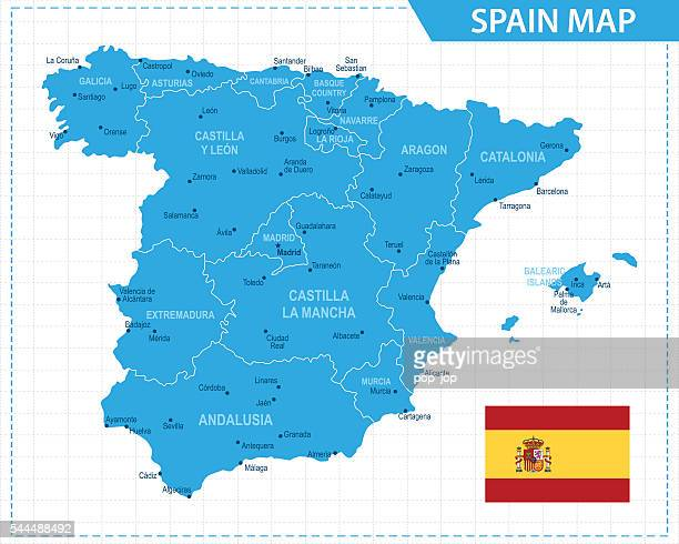 spain map - illustration - seville stock illustrations, clip art, cartoons, & icons