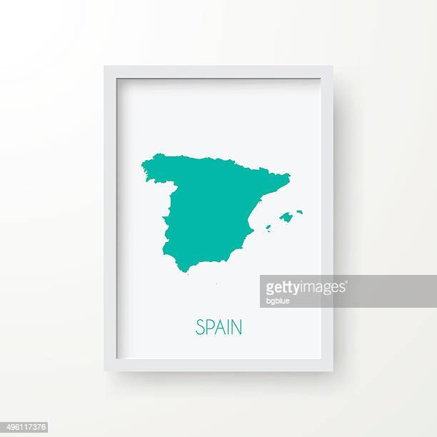 Spain Map in Frame on White Background