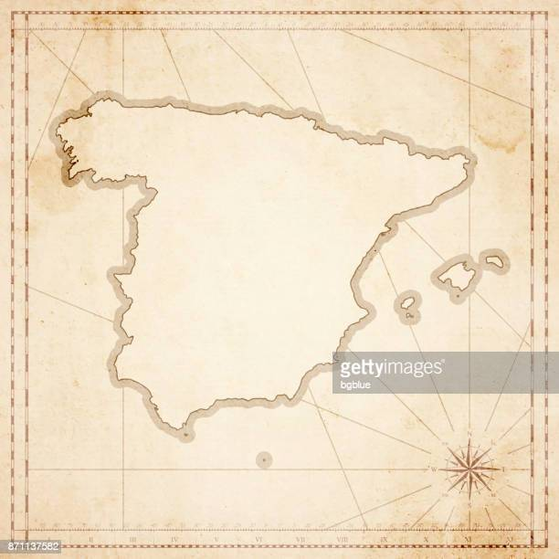 Spain map in retro vintage style - old textured paper