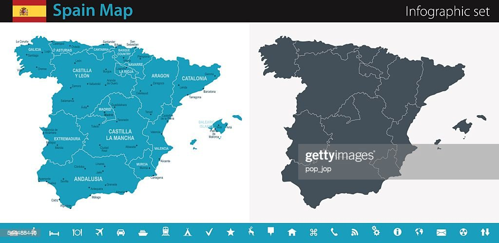 Spain Map - Infographic Set : stock illustration