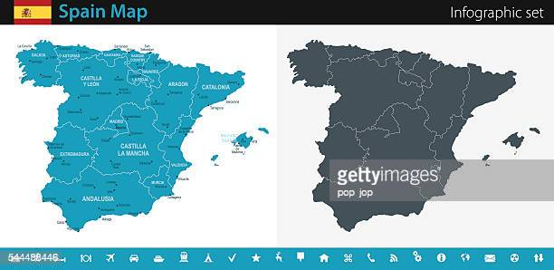 spain map - infographic set - seville stock illustrations, clip art, cartoons, & icons