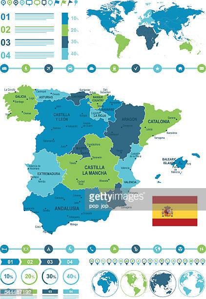 spain map infographic - oviedo stock illustrations, clip art, cartoons, & icons