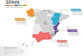 Spain map infographics vector template with regions and pointer marks