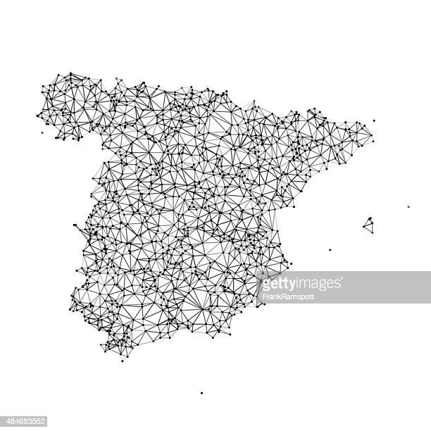 Spain Map Network Black And White