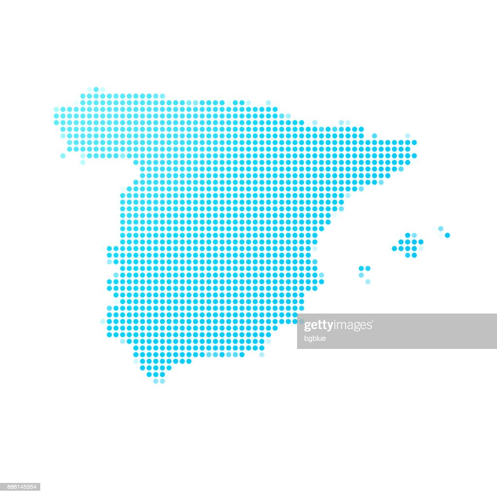 Spain map of blue dots on white background : stock illustration