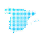 Spain map of blue dots on white background