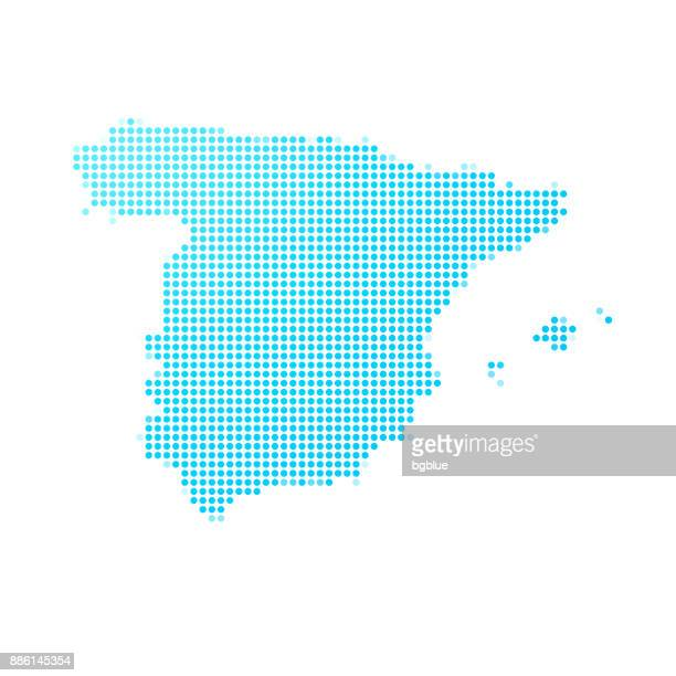 spain map of blue dots on white background - stipple effect stock illustrations