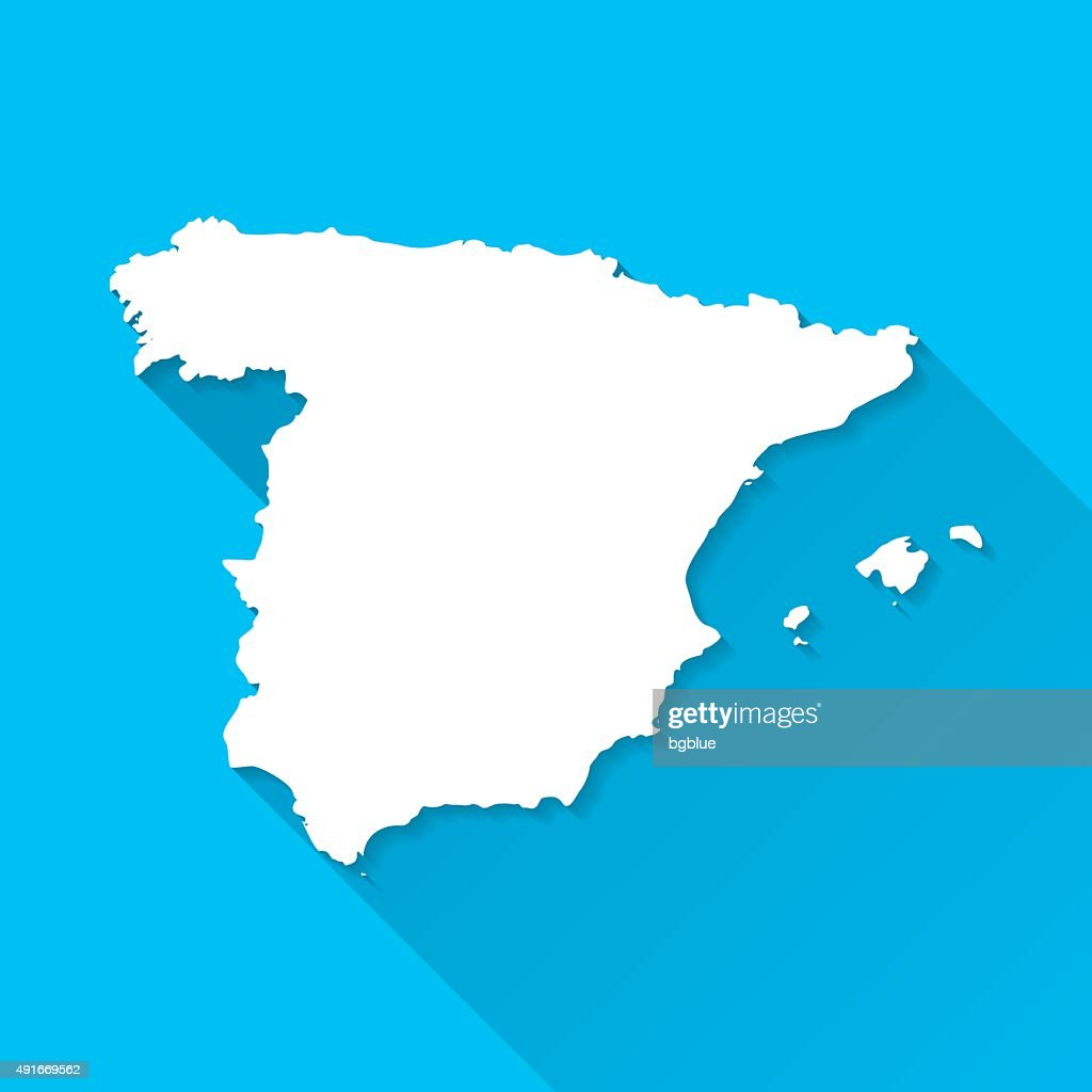 Spain Map on Blue Background, Long Shadow, Flat Design