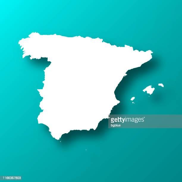 影とブルーグリーンの背景上のスペインの地図 - スペイン点のイラスト素材/クリップアート素材/マンガ素材/アイコン素材