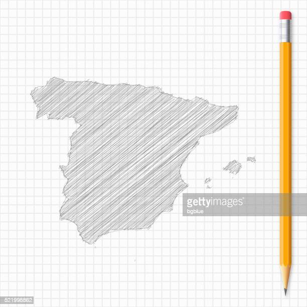 spain map sketch with pencil on grid paper - iberian peninsula stock illustrations, clip art, cartoons, & icons