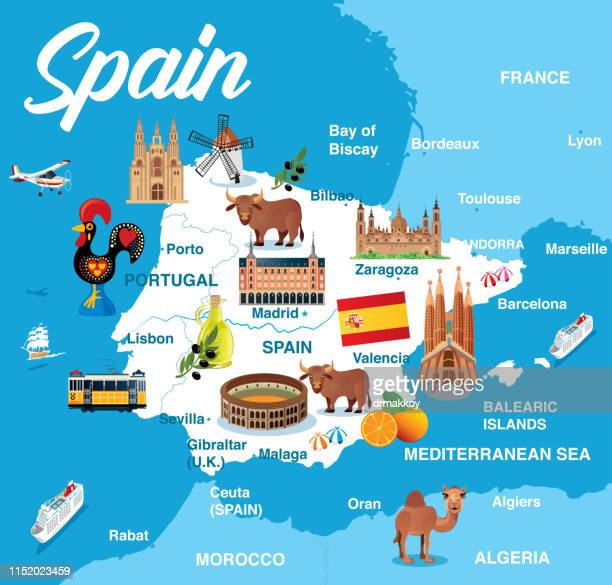 spain map - bay of biscay stock illustrations, clip art, cartoons, & icons
