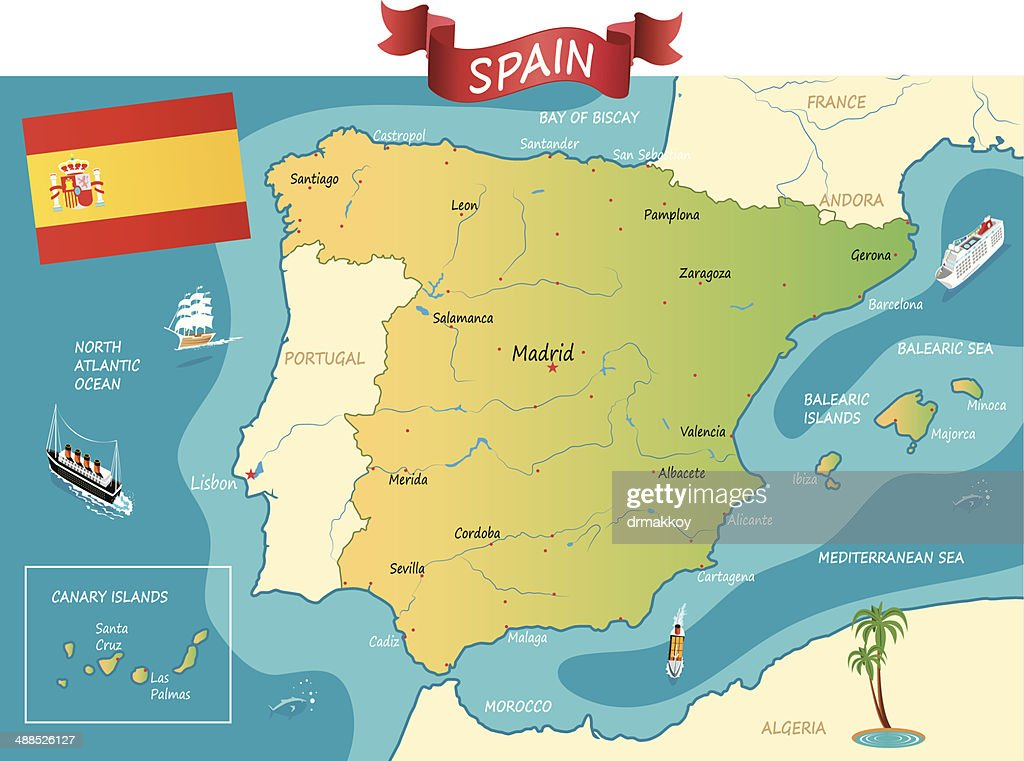 France Spain Cartoon Maps Vector Art Getty Images - France and spain map