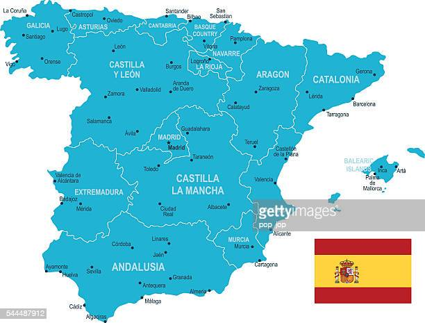 spain map - oviedo stock illustrations, clip art, cartoons, & icons