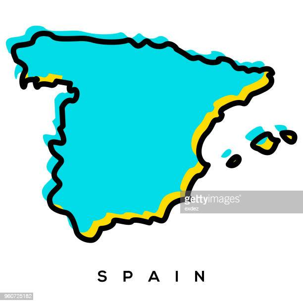 spain map - iberian peninsula stock illustrations, clip art, cartoons, & icons
