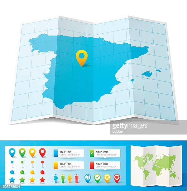spain map with location pins isolated on white background - iberian peninsula stock illustrations, clip art, cartoons, & icons