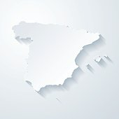 Spain map with paper cut effect on blank background