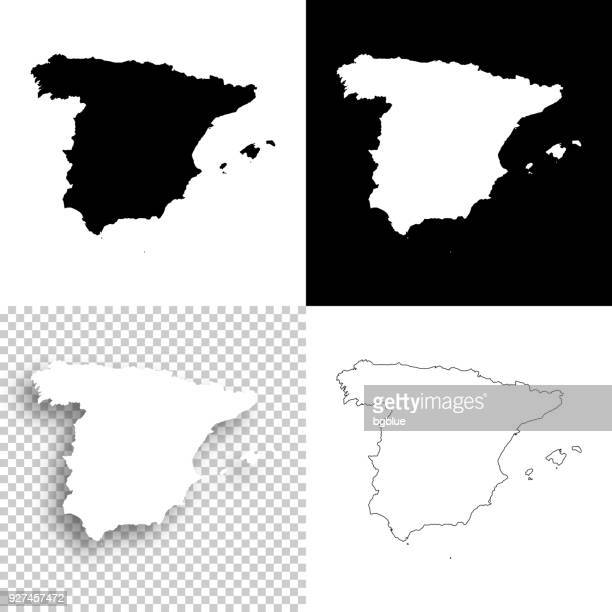 spain maps for design - blank, white and black backgrounds - spain stock illustrations