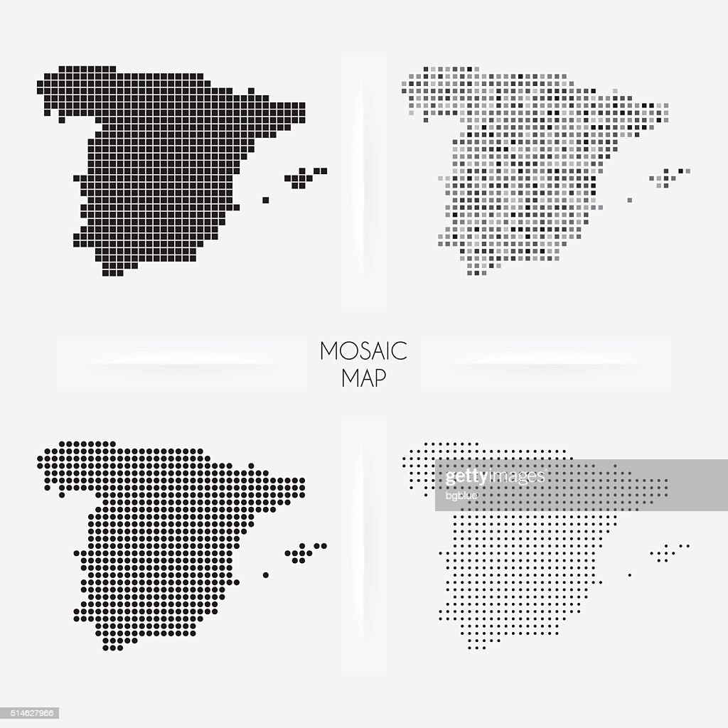Spain maps - Mosaic squarred and dotted