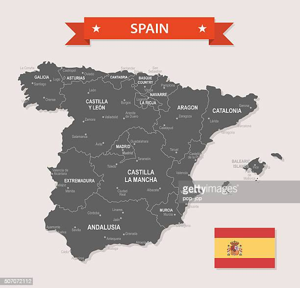 spain - old-fashioned map - illustration - oviedo stock illustrations, clip art, cartoons, & icons