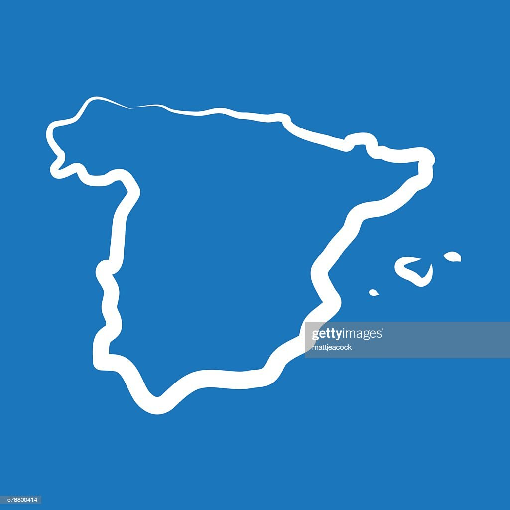 Spain outline map made from a single line : stock illustration