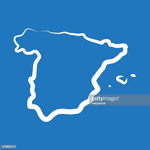 spain outline map made from a single line - iberian peninsula stock illustrations, clip art, cartoons, & icons