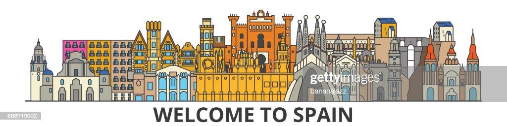 Spain outline skyline, spanish flat thin line icons, landmarks, illustrations. Spain cityscape, spanish travel city vector banner. Urban silhouette