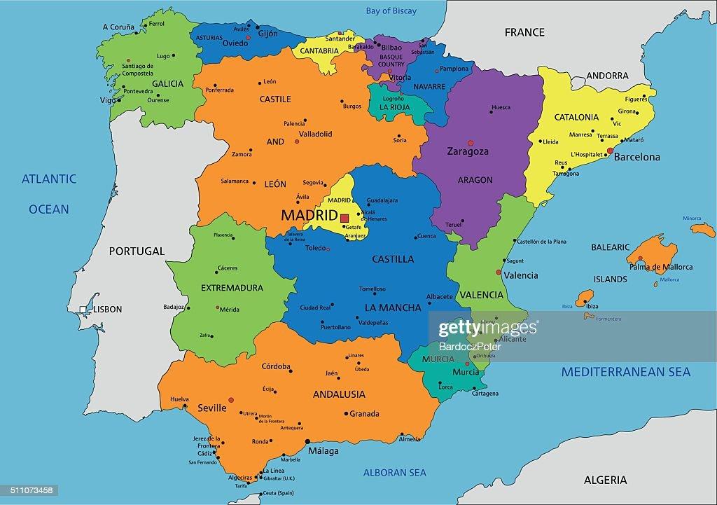 Cartina Spagna Politica E Fisica.Spagna Physcolorful Spagna Mappa Politica Con Etichettando Separato Strati Illustrazione Stock Getty Images
