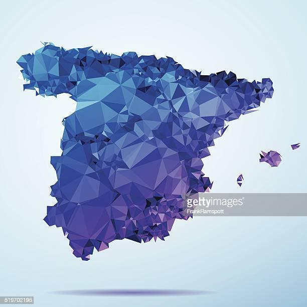 spain polygon triangle map blue - iberian peninsula stock illustrations, clip art, cartoons, & icons